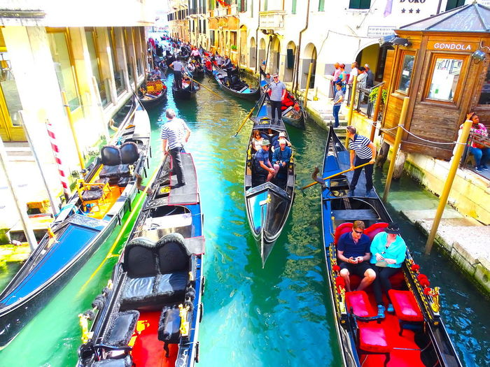 Colorful Happiness Gondolas Venice Happiness Laguna Di Venezia  Traffic Traffic Jam Travel To Italy Best Cities Best City In The World Colorful Italy Travel Destinations Veneto Venice Adventures In The City