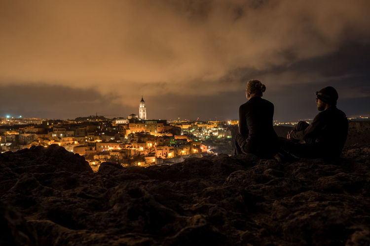 City Cityscape Matera Night Outdoors Rear View Sky Travel Destinations Two People Vacations