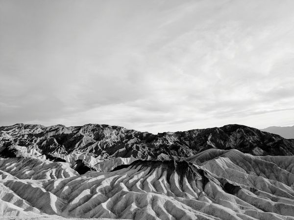 Black And White Landscape Nature Scenics Tranquility Death Valley National Park California Iconic Landscape Sunset Adventure Outdoors Arid Climate Mountain Day No People Cloud - Sky Travel Destinations Desert Landscape Beauty In Nature