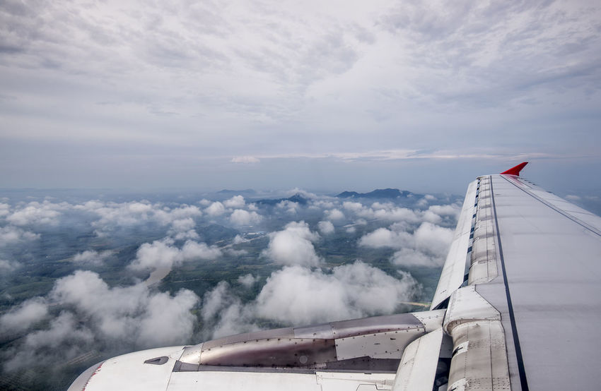 Aerial view from airplane see landscape view Air Vehicle Aircraft Wing Airplane Airplane Wing Day Flying Mode Of Transport No People Outdoors Sky Transportation