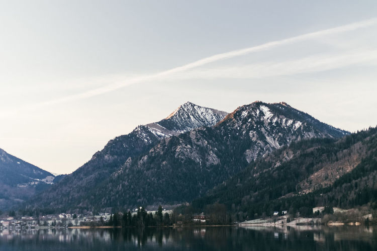 Morning at Schliersee in the Alps Mountain Snow Winter Cold Temperature Lake Snowcapped Mountain Tree Sky Mountain Range Landscape Mountain Peak Foggy Wilderness Alpine Sight Mountain Ridge Geology
