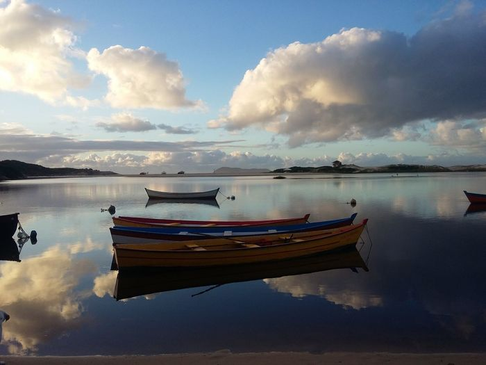 #Nature  #NoFilter #Boats #dawn #sky #beach Praia Water Nautical Vessel Moored Lake Blue Reflection Sunset Beach Sunlight Sky