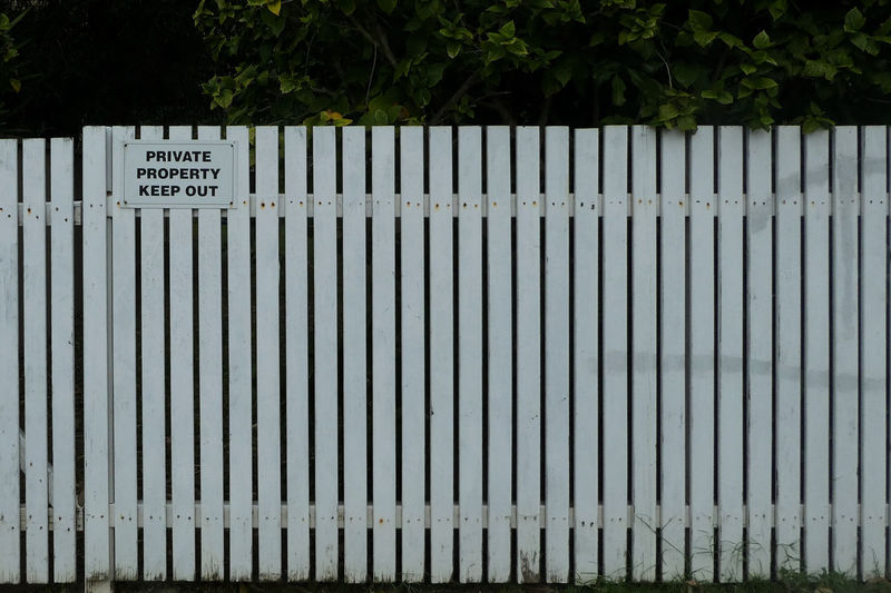 Text on fence against plants