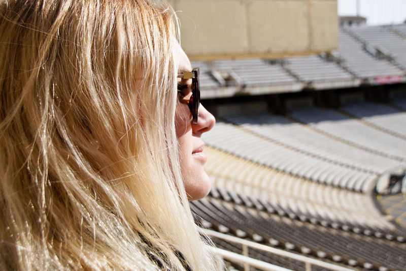 Close-up of woman in stadium