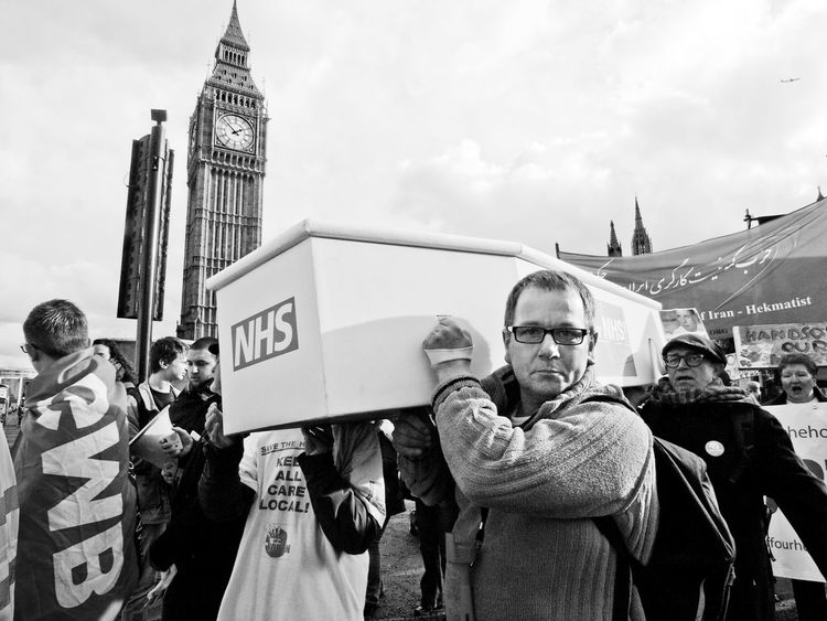Hands Off Our NHS. D-Day And Howl Protest. London. 28-01-2017 British Budget Budgets Crisis Cuts Demonstration Hands Off Our NHS Howl London March Nhs NHS Protest Olympus Parliament Politics Protest Protesters Steve Merrick Stevesevilempire Zuiko