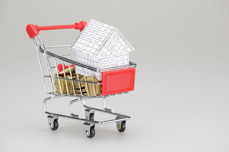 House in shopping cart with gold coins place on white background. Business Gold Golden Home Planning Red Stack Work Account Background Cart Coin Concept Copy Space Document Finance House Paper Paperwork Pile Report Shopping Wealth White Workload