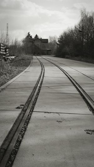 Railroad Track Lonely House first eyeem photo EyeEmNewHere Black And White Friday