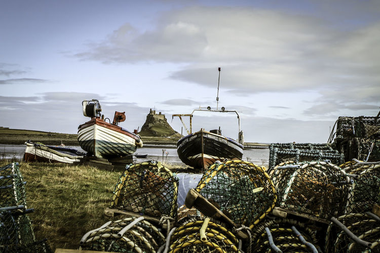 Lobster traps by lake