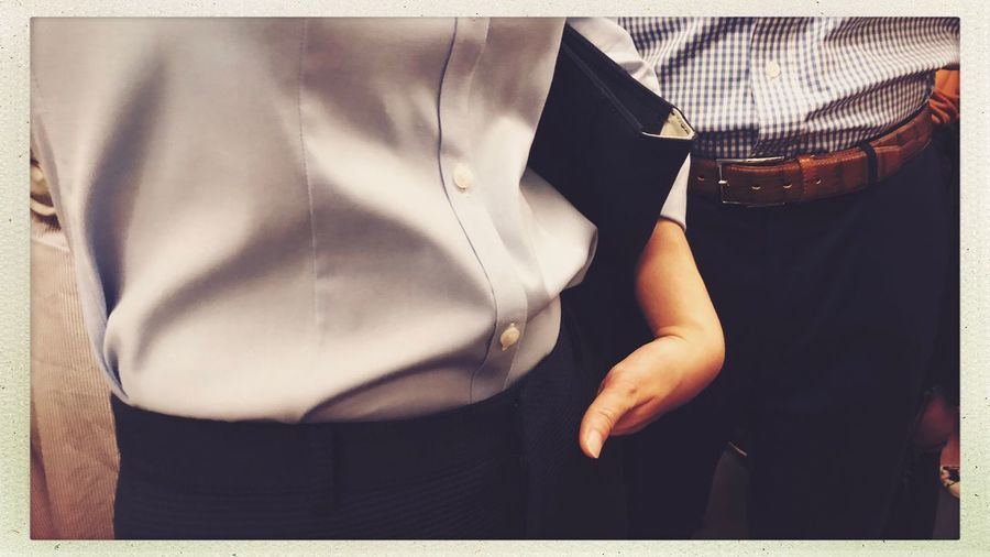 Subway Streetphotography Midsection One Person Auto Post Production Filter Transfer Print Real People Men Standing Clothing Casual Clothing Human Body Part Close-up Lifestyles Front View Leisure Activity Human Hand Indoors  Sunlight Button Down Shirt Menswear Day