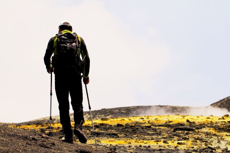 Rear view full length of man with hiking poles on landscape against clear sky
