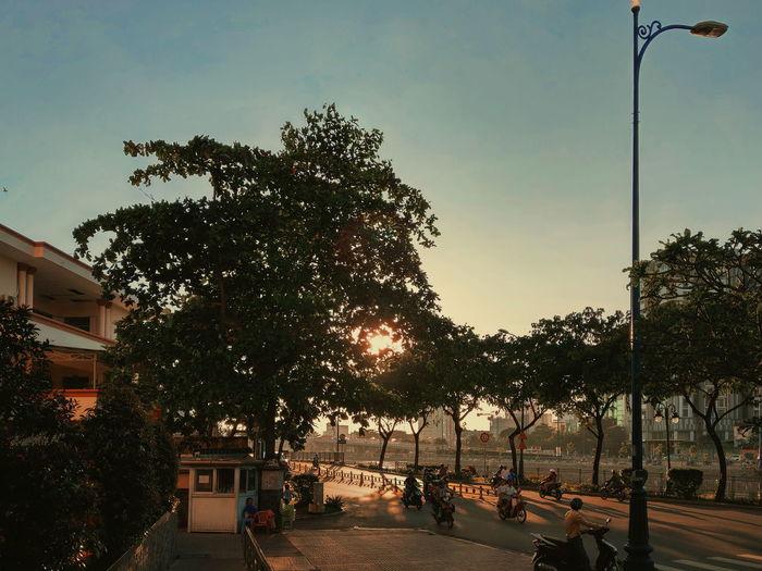 Peace after storm Sunset Urban City Tree Playground Sky