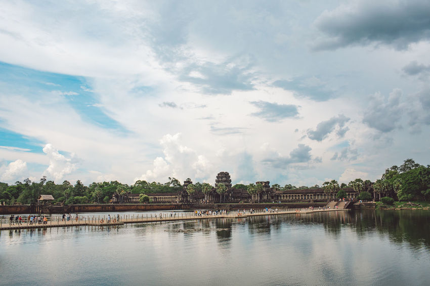 Siem Reap Cambodia Angkor Angkor Wat Angkor Wat, Cambodia Cloud - Sky Sky Water Built Structure Tree Building Exterior Architecture Nature Waterfront Plant Reflection Building River Day No People Beauty In Nature Scenics - Nature Outdoors