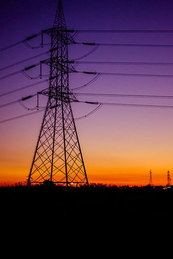 Electricity  Cable Sunset Electricity Pylon Power Supply Power Line  Fuel And Power Generation Silhouette Landscape Technology Steel Industry Symmetry Power Station Hand Of Man Elctricity Sun Italy Lombardy