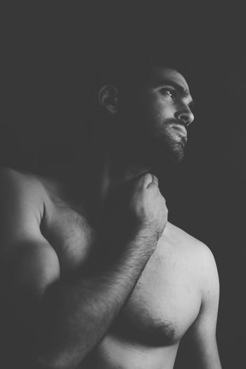 EyeEm Selects Shirtless One Person Beard Handsome Black Background Real People Muscular Build Lifestyles Leisure Activity Men Masculinity Portrait Studio Shot Macho Indoors  Young Adult One Man Only Close-up Only Men Adult Gay Gayman Gay Pride