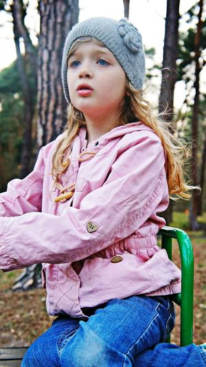 Girl Playground EyEmNewHere Pink Color Girls Long Hair Outdoors Child Young Adult Beauty Sitting Portrait The Portraitist - 2018 EyeEm Awards