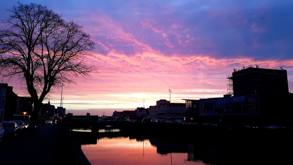 Beautiful morning night over Cork City Reflection Silhouette Water Sky Multi Colored Outdoors Tree City Nature Samsung Galaxy S7 No Filter, No Edit, Just Photography Samsungphotography Cork City Cityscape Corkcityviews Sunrise Silhouette Cityphotography Beauty In The City