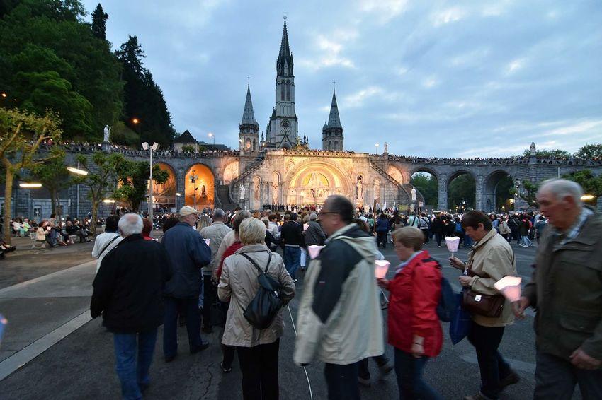 Architecture Building Exterior Candles Church France Lourdes MARIAM Religion Religious  Torchlight Procession