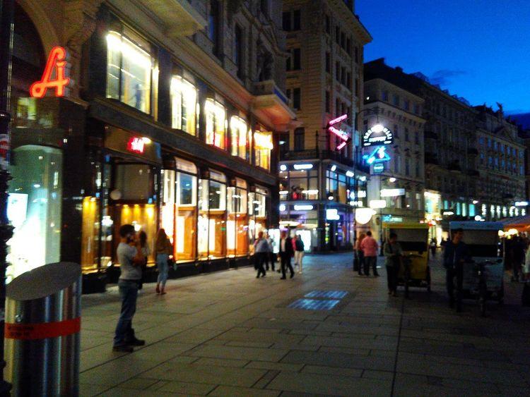 Travael Nofilter Austria Vienna Street Evning Light Evning Street Night Illuminated Architecture City Nightlife City Life Neon People