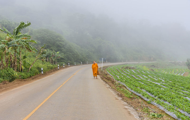 Monk standing on road by agriculture field
