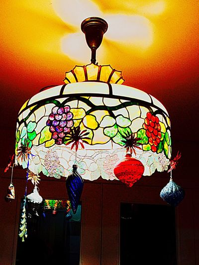 My bohemian Christmas tree. Low Angle View No People Hanging Lighting Equipment Iphonephotography Decorative Art Colorbrilliance Brilliant Colors Purple Tiffany l Lamp Pattern Yellow Indoors  Architecture