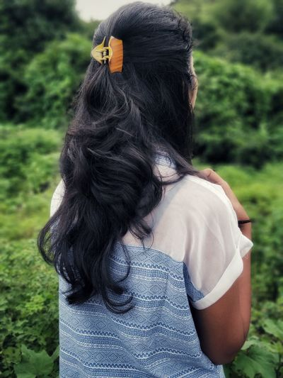 Girl Hair Greenery Girl Back Profile Looking Away Disguise Close-up Human Back Posing HEAD Profile Tangled Hair Hiker It's About The Journey