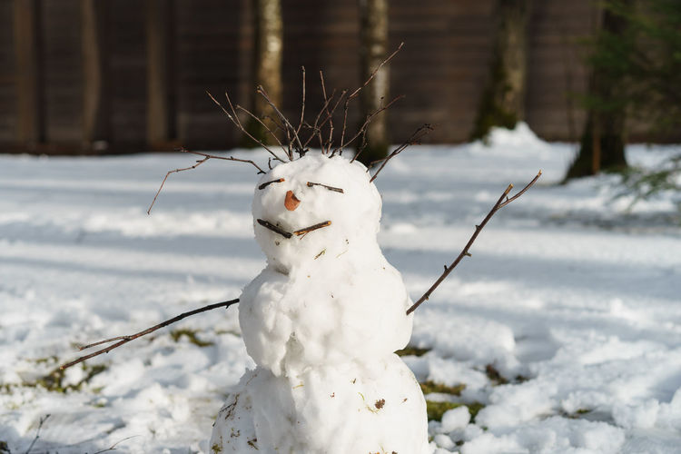 White snowman on field during winter