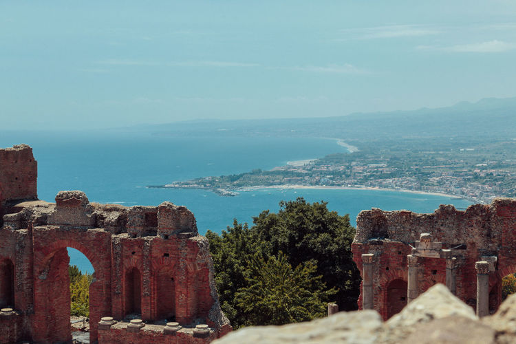 Etna Mediterranean Sea Sicily Abandoned Ancient Ancient Civilization Architecture Beauty In Nature Building Exterior Built Structure Day History Italy Mountain Nature No People Old Ruin Outdoors Scenics Sea Sky Taormina The Past Travel Destinations Water