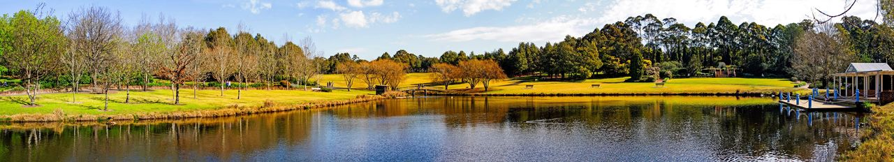 Autumn in the park Canonphotography Canon Panorama Park Tree Water Reflection Lake Landscape Nature Clouds And Sky Grass Outdoors Tranquility Lost In The Landscape Autumn Mood