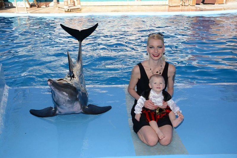 Fish Happiness Front View Smiling Baby People Underwater Looking At Camera Dolphin Adult Portrait Sea Togetherness Water Sea Life Cheerful Nature Mammal Childhood Full Length