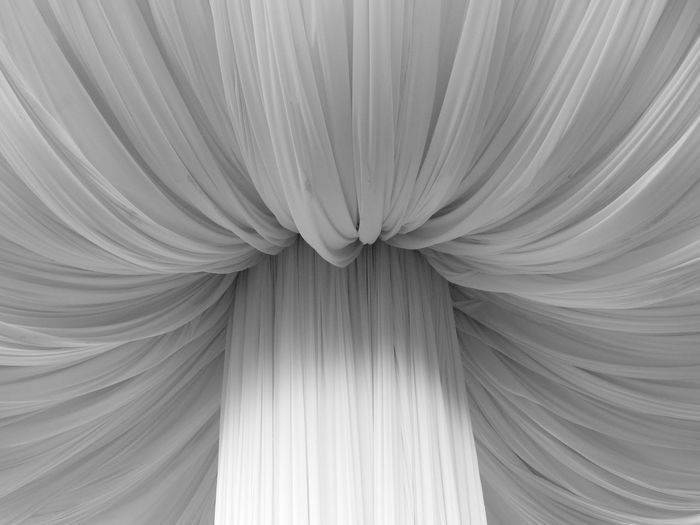 Detail shot of white curtain
