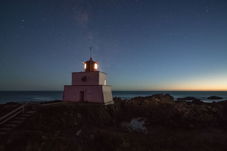 Lighthouse Amphitride Point Amphitride Point Peace And Quiet Astronomy Blue Clear Sky Dusk Horizon Over Water Lighthouse Milky Way Nature Night Sea Star - Space Tranquil Scene Ucluelet Vancouver Island EyeEmNewHere