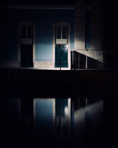 Reflection Built Structure Architecture Water Building Exterior Silhouette Waterfront Nature Building Night Window Outdoors Dark One Person Sky Gotham City The Art Of Street Photography
