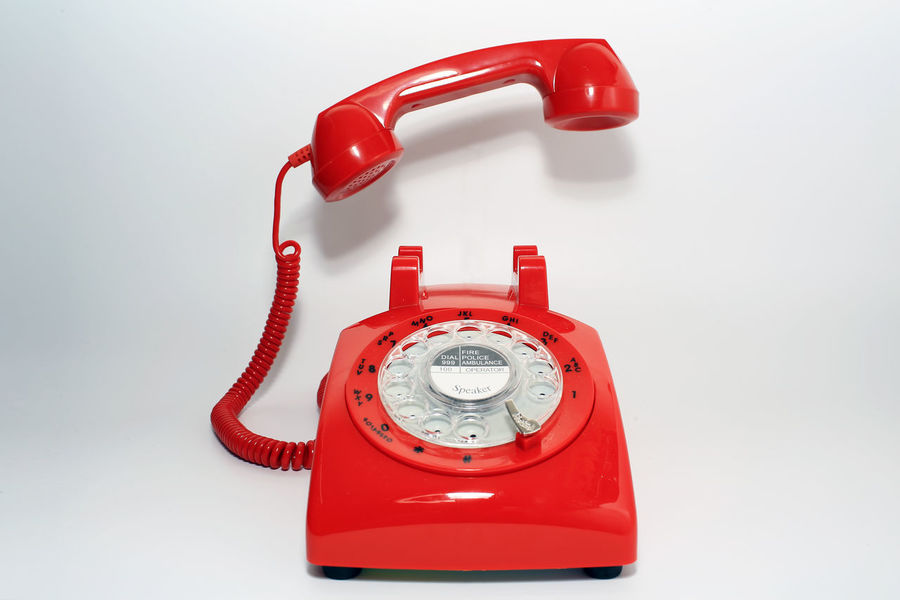 hang up by hollow man Calling Old-fashioned Red Close-up Communication Connection Isolated White Background Landline Phone No People Number Old-fashioned Red Retro Styled Rotary Phone Single Object Telephone Telephone Line Telephone Receiver White Background