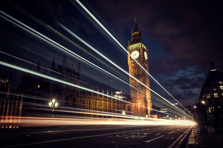 Architecture Blurred Motion Building Exterior Bus City City Life Clock Clock Tower Cultures Double-decker Bus Government Illuminated Light Trail Long Exposure Motion Night Outdoors Politics And Government Street Time Tower Traffic Transportation Travel Travel Destinations