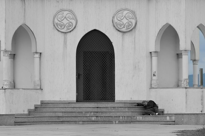 Arch Architecture Beggar Believe Blackandwhite Building Exterior Built Structure Church Day Door Drinker Hope Ormaente Outdoors Poorpeople Stairs