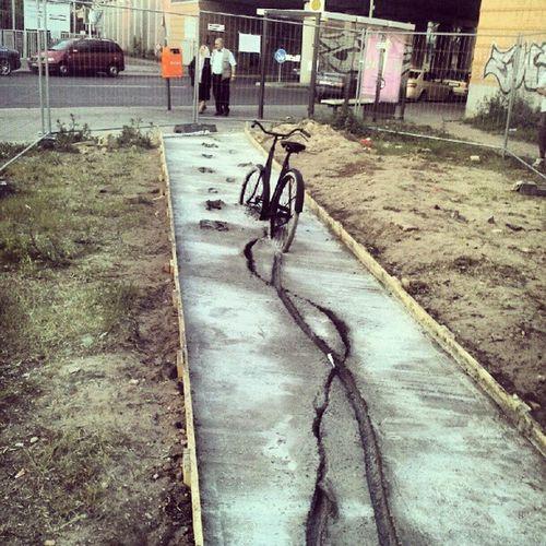 Is this art berlin style? Berlin Mycity Bike Cement fun pictureoftheday