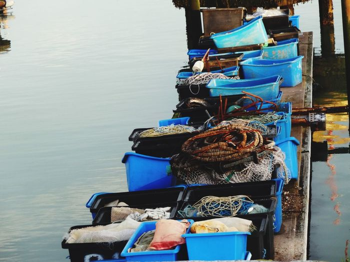 'Odds' Blue Buckets Trays Waste Harbour Portrait Sea Evening Tubing Materials -- B