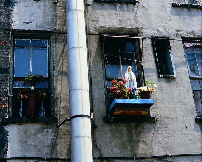 EyeEm Selects Digitised Analogue Photography Streetphotography New York Street Window Façade Saint Mary Statue 1985