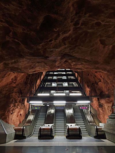 Low Angle View Of Escalator At Radhuset Metro Station