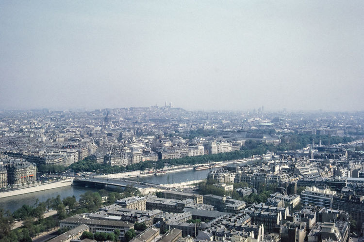 Aerial view of seine river amidst buildings in city