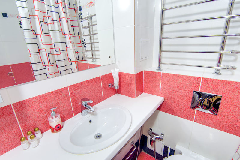 Bathroom Hygiene Sink Faucet Mirror Indoors  Domestic Bathroom Household Equipment Domestic Room Home No People Tile Flooring Bathroom Sink White Color Reflection High Angle View Wash Bowl Red Absence Clean