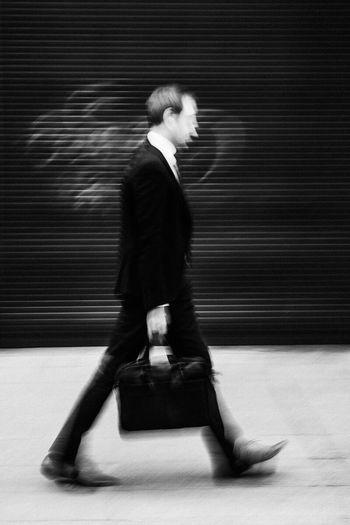 Streetphotography Businessman Vibration Blurred Motion Blackandwhite Walking Around