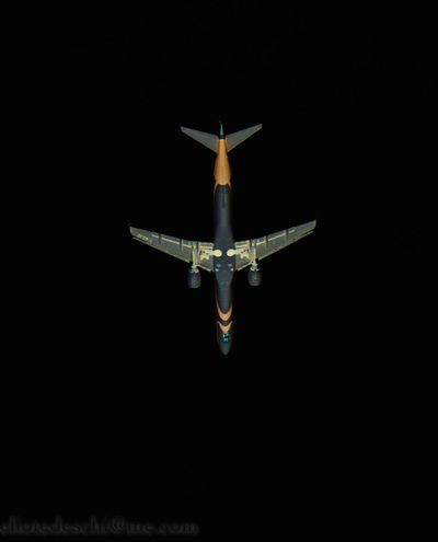 #AirForceOne #airplane AirPlane ✈ Black Background Blue Close-up Cut Out Dark Glowing Illuminated Lit Night No People Vignette