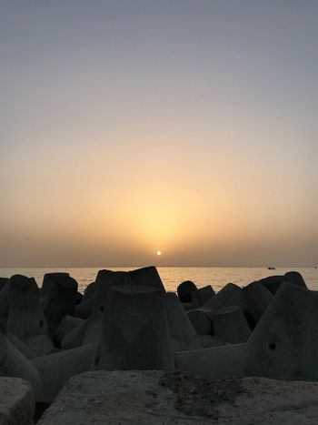 Sunset in Alexandria, Egypt. Alexandria Egypt Alexandria Egypt Sky Sea Water Sunset Scenics - Nature Beauty In Nature Beach Nature Rock Outdoors No People Clear Sky Horizon
