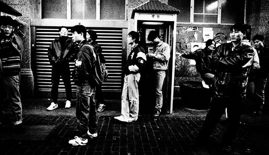 People standing in corridor