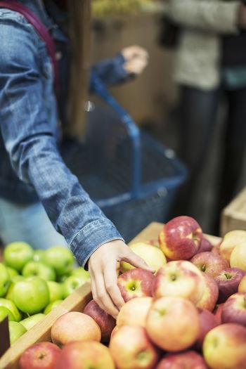 Full frame shot of apple for sale at market stall