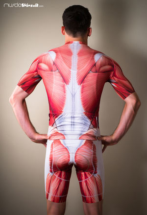 http://muscleskinsuit.com/Muscle_cycling_kit Adult Adults Only Arms Akimbo Hand On Hip Hands Behind Back Human Back One Man Only One Person Only Men People Rear View Red Standing Studio Shot Young Adult