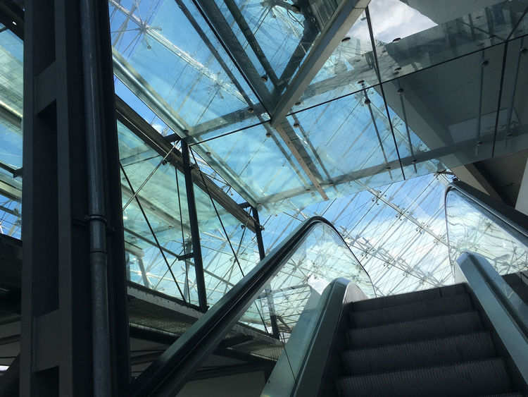 Architectural Feature Architecture Blue Built Structure Caged Freedom Directly Below Geometric Shape Low Angle View Modern No People Sky Skylight