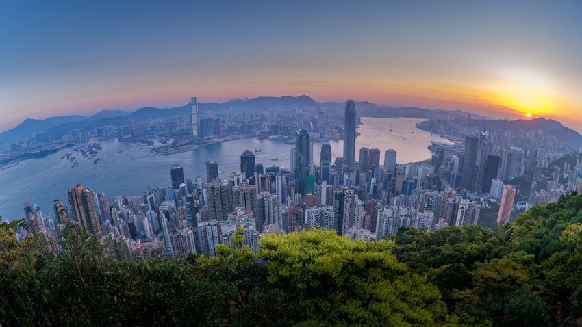 Morning in Hong Kong ASIA Asian  City Cityscape HongKong Morning Morning Light Nature The Peak Travel Tree Victoria Harbour View Apartment Building Building Exterior Chinese Fisheye Hongkongphotography Mountain Sea Sun Sunrise Victoria Peak Wide