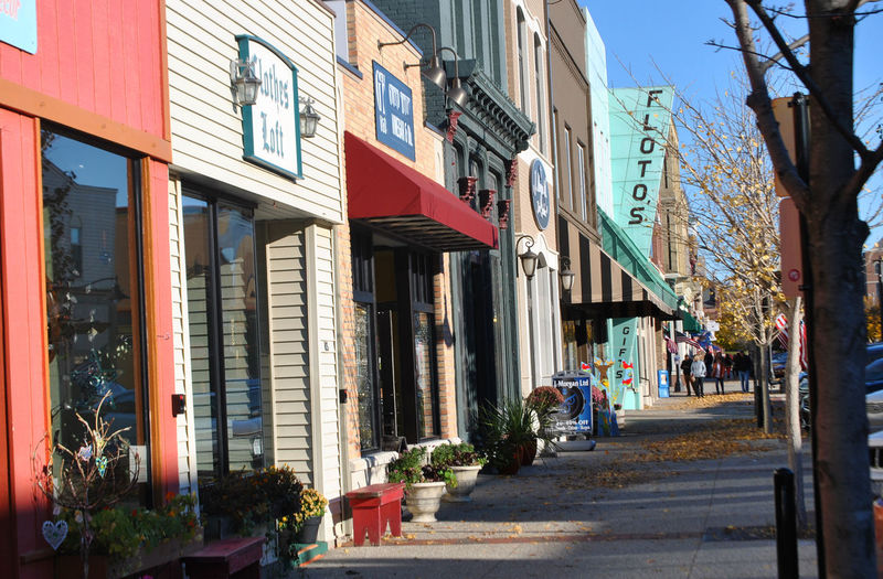 Walking on a Fall Afternoon Architecture Autumn Building Exterior City Day Fall Outdoors Sidewalk Store Front Store Fronts